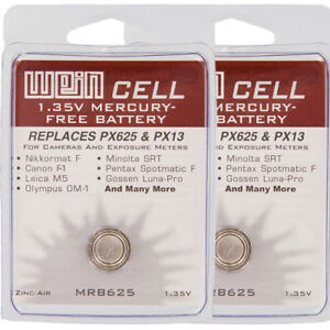 2 Pcs Wein Cell PX625 Mercury Free 1.35V Battery