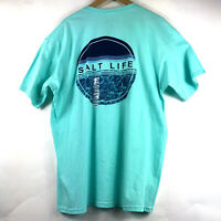 Salt Life CALM WATERS T-Shirt Size XL Aruba Blue Spell Out Graphic Cotton $22