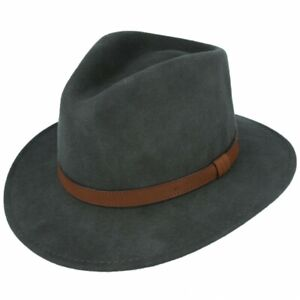 Fedora Hat 100% Wool Black and Olive Green with Leather Band