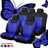(9pcs Blue) Butterfly Car Seat Covers PU Leather Auto Seat Protector Universal
