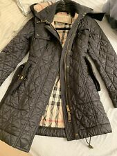 REMOVABLE HOODED BURBERRY WOMENS QUILTED COAT JACKET/Coat SZ 6 SMALL BLACK COLOR