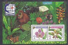 1995 Singapore 717a Block 33A MS797 Flowers/Orchids w/ Orangutan - Expo*