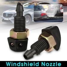 2Pcs Car Vehicle Front Windshield Washer Sprayer Nozzle Plastic Black Universal