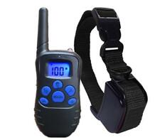 100LV Dog Waterproof Training Collar Rechargeable Electro Shock LCD Display 300M
