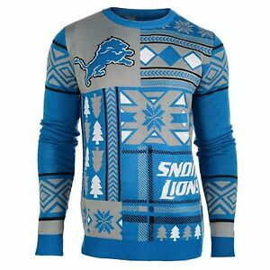 Detroit Lions Patches Ugly Sweater Christmas NFL Crew Neck NEW