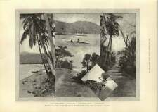 1889 Sketches In The Samoa Islands Disaster For German And American Warships