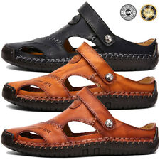 US Size 6-13 Men's Brown Leather Safety Closed Toe Outdoors Sandals Casual Shoes