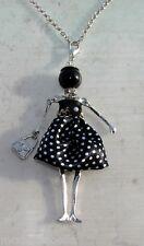 Bambola Collana vestito a pois,perle,da Donna,bambolina,necklace doll, nero