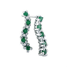 10K WHITE GOLD 1/2CT EMERALD JOURNEY DIAMOND EARRINGS