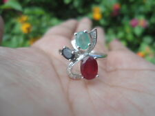 Natural RED RUBY, GREEN EMERALD, SAPPHIRE & CZ STERLING SILVER RING S7.0