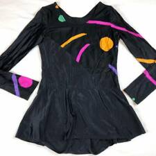 Vintage 80s Ice Skating Leotard Adult Women M Black Skirt Costume Dance Leo