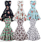FLORAL Vintage Retro Swing 50's 60's pinup Housewife Prom Dress Casual Dresses
