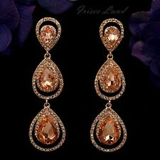 Rose Gold Plated Peach Crystal Rhinestone Drop Dangle Earrings 9625 Party Prom