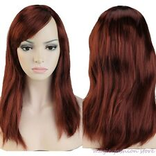 Real Thick Full Wig Long Curly Straight  Cosplay Party Fancy Dress Brown Red Z94