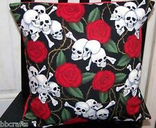 New Biker Style Decor 15 X 15 Skulls And Roses Complete Throw Pillow - Just In