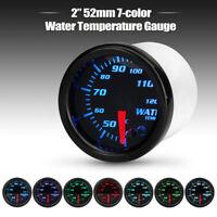 Universal 2'' 52mm 7 Color LED Display Water Temp Temperature Gauge Sensor Meter