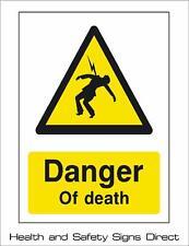 Pericolo di morte di avvertimento in plastica rigida segno - 210 x 297mm-A4 * * a basso costo