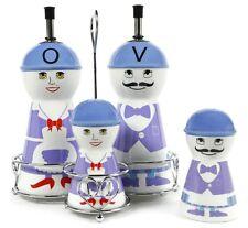 Purple Ceramic Oil and Vinegar Dispensers, Salt and Pepper Shakers Cruet Set