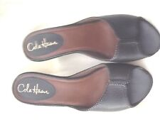 """Cole Haan Black Leather Open Toe Semi Wedges  9B Footbed 10 3/4 X 3 1/4"""""""