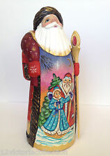 Russian SANTA with Snow Girl Wood Hand Carved Hand Painted SIGNED Father Frost