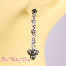 Deco Chic Silver Classic Long Drop Regency Trefoil Earrings w/ Swarovski Crystal