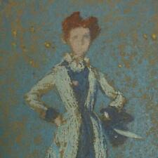 COLOR Lithograph ~ WHISTLER'S BLUE GIRL ~ 1904 Thomas Way THE STUDIO