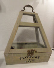 GRAY WEATHERED WOOD GLASS TERRARIUM BOX TOP OPENS w/ HANDLE FLOWERS & PLANTS NEW
