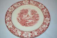 "Colonial Woods Burslem England Red White Transferware Plate 9"""