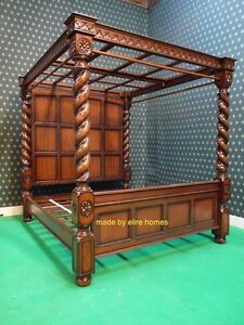 Sophisticated Super King Size 6' carved Mahogany Four 4 Poster TUDOR canopy bed