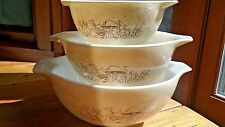 Set/3 Pyrex Forest Fancies nesting, stacking, mixing Cinderella  bowls #441 -443