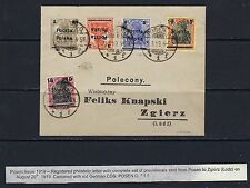 1919 Poland Scott 72-76 complete Posen issue on cover expertized Mikulski