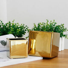 Gold-plated  Plating Ceramic Plant Flower Pot box Planter For Home Garden Decor