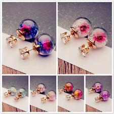 Fashion Women Elegant Flower Inside Crystal Glass Round Ball Ear Stud Earrings