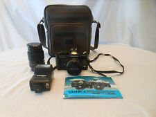 YASHICA FX-3 Super 35mm Camera W/ Flash / Bag UNTESTED