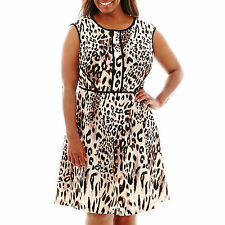 Studio 1- Extended Shoulder Animal Print Fit &Flare Dress, Plus-size: 14W,Blac
