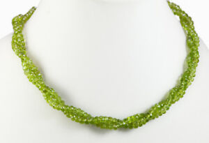 Natural 2 Strands Fine Quality Peridot Gemstone Twisted Beads String Necklace