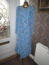H&M TREND BABY BLUE FLORAL PRINT DRESS SIZE UK12 EUR 38