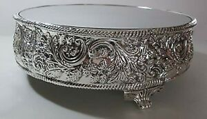 Silver Scroll  Mirror Wedding Cake Stand   Display / Vanity Stand