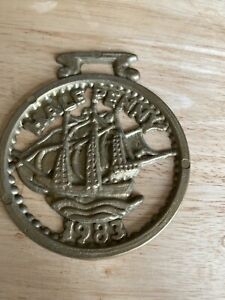 Horse Brass Vintage Half Penny 1983 Sailing Ship Great Britain Coin