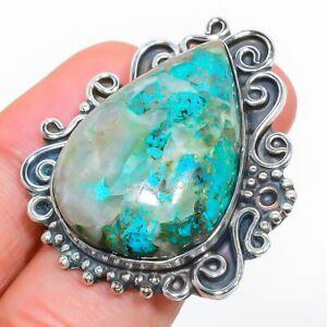 Chrysocolla Gemstone Handmade 925 Sterling Silver Jewelry Ring Size 8 H844
