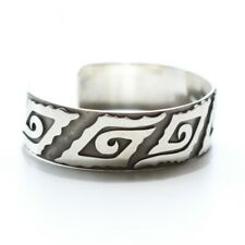 Vintage Mexico 925 Sterling Silver Tribal Pattern Cuff Bracelet