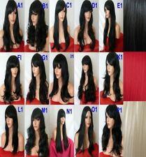 Women BLACK Blonde Red Plum Curly Straight Wavy Fashion Costume HALLOWEEN WIG