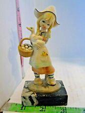 Fontanini Depose Italy Girl w/ Duck Figurine Simonelli Carrara Marble Base !