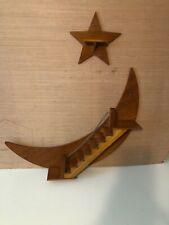 "VINTAGE Handmade Crescent Moon Stairway 24"" Wooden Curio Knick Knack Shelf"