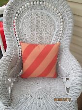 Country Cottage Peaches Creamsicle Striped Outdoor Square Patio Deck Pillow -New