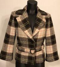 CABI Coat Sz 6 Pink Brown Plaid Tweed - Wool Blend Short Belted #730 Kate Jacket