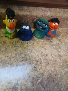 4 Vintage Sesame Street Finger Puppets Bert & Ernie Have Hair Oscar Cookie 1970s