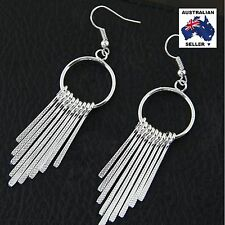 Stylish Fashion Hoop and Tassel Earrings - Silver Plated - New