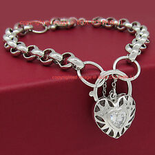 Solid 18k White Gold GF Belcher Chain Ring Clasp Padlock Bracelet Lab Diamonds