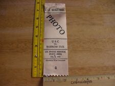1969 USC vs Washington State mens Basketball press pass ribbon vintage